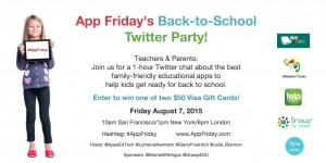 App Friday's Back to School Twitter Party for Educational Apps and EdTech